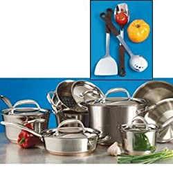 18/10 Kirkland Signature Stainless Steel 16 Piece Professional Cookware Set wtih Copper Bonded 5-ply Base