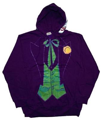 Mens DC Comics The Joker Costume Hoodie S Purple