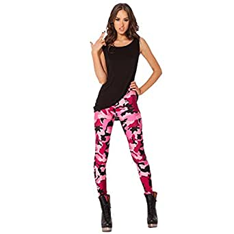 Army Pink Camouflage Leggins Pants G-011 at Amazon Women's Clothing