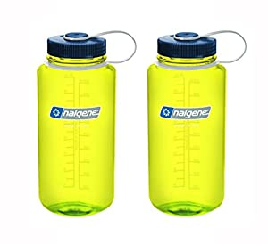 Nalgene Tritan Wide Mouth, Safety Yellow With Blue Cap 32oz, Set of 2