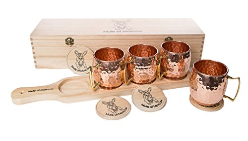 Original Mule of Moscow Gift Set. 4 Copper Mugs, paddle tray, 4 coasters and wooden gift box. Launch promotion!