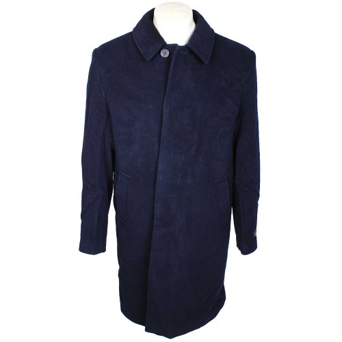 Thomas Brooks Men's Navy Overcoat in Luxury Italian Fabric with Wool and Cashmere In Size XLarge