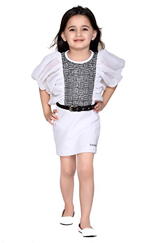 Be: Kids Baby Girls Dress (SKU226-B-6-7Years_White _6-7Years)
