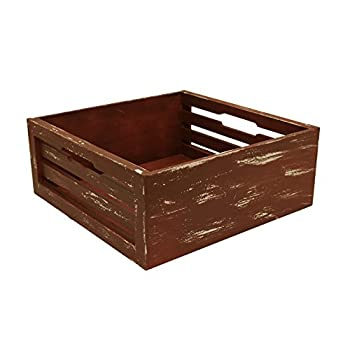 """Wald Imports Distressed Wood Slat Crate, Red, 12.5"""""""