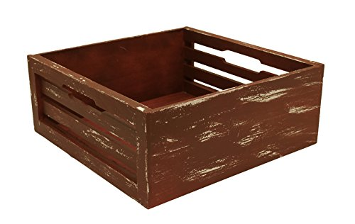 Wald Imports Distressed Wood Slat Crate, Red, 12.5