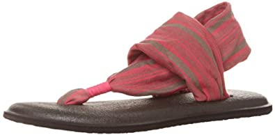 Sanuk Women's Yoga Sling 2 Flip Flop,Charcoal/Hot Pink,5 M US