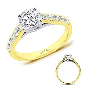 1.25 Ct. tw. Yellow Gold Trellis Engagement Setting with Round Diamond