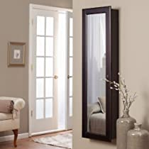 Wall Mounted Espresso,Wooden Jewelry Armoire and Mirror with LED Lighting