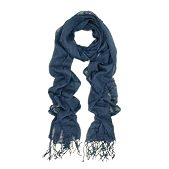 Elegant Solid Color Viscose Fringe Scarf - Different Colors Available (Navy)