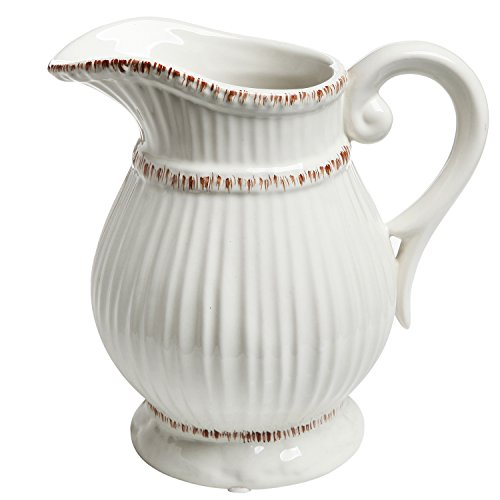 White Ceramic Vintage Style French Country Water Pitcher Flower Vase / Decorative Bouquet Holder (White Ceramic Pitcher Vase compare prices)