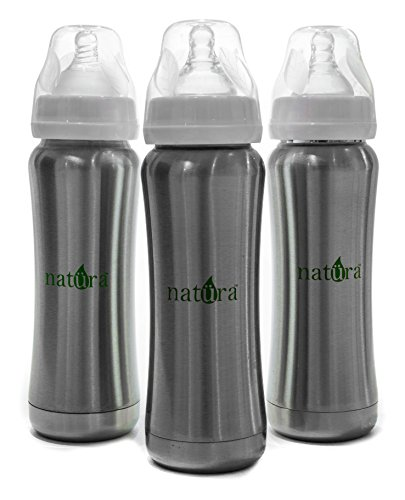 #1 High Quality 9oz Antibacterial Stainless Steel BPA Free Baby Bottle with Natural Medium Flow Anti Colic Nipple, FDA Approved - 1