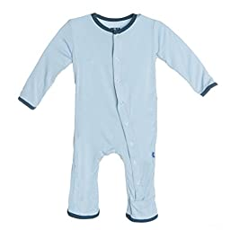 Kickee Pants Solid Coverall, Pond, 0-3 Months