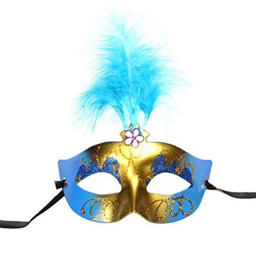 Leoy88 Halloween Feather Masks Charming Party (Sky Blue) (Celebrity Couples Halloween Costumes)