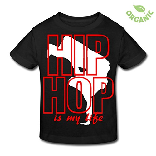 Spreadshirt Kinder hip hop is my life T-Shirt, schwarz, 110/116 5-6 Jahre