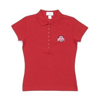 NCAA Ohio State University Ladies Remarkable Baby Rib Short Sleeve Polo Shirt by Antigua
