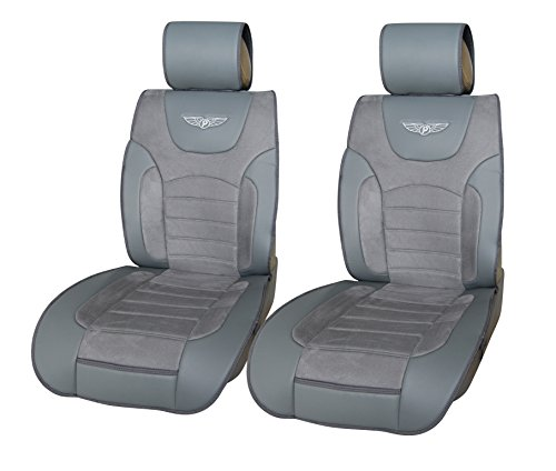 Inteligate Leather Like Suede 2 Front Car Seat Cover Cushions Universal 802 Gray