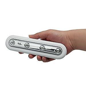 Tenflyer 2 piezas con pilas 4 LED Enfriar la luz blanca Touch Luz para armario / gabinete / Escaleras / bar / Galpones / coche / Trastero