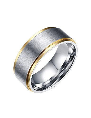 FANSING Mens 8mm Titanium Stainless Steel Two Tone Wedding Bands