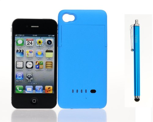 Hsini 1900 Mah External Backup Charger Battery Case For Apple Iphone 4 4G & 4S - Retail Packaging - Blue