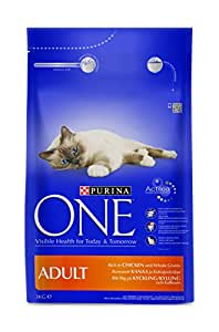 Purina ONE Adult Chicken and Whole Grains Dry Cat Food 3 kg (Pack of 4)