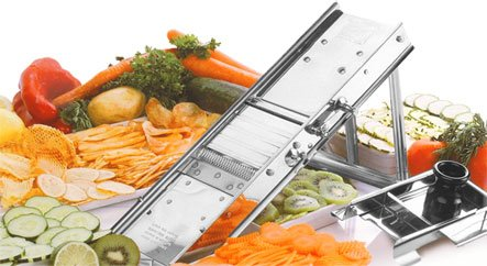 Bron Professional Stainless Steel Mandoline Slicer with Stainless Steel Pusher