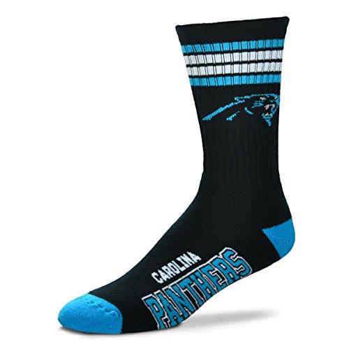 NFL Carolina Panthers 4 Stripe Deuce Socks, Large