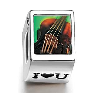 Amazon.com: Soufeel 925 Sterling Silver I Heart U Violin String Music