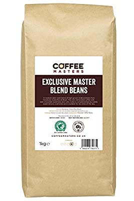 Coffee Masters Exclusive Master Blend of 100% Arabica Espresso Coffee Beans 1kg by Coffee Masters
