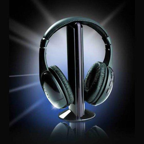 Changeshopping 5 In 1 Hi-Fi Wireless Headset Headphone Earphone For Tv Dvd Mp3 Pc Black