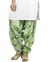 Rama Designer Green And White Color Floral Printed Free Size Awsome Flared Cotton Patiala