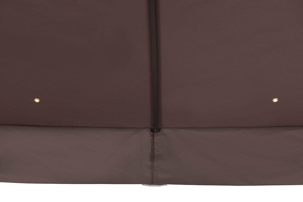Sunjoy 12 x 10 Sonoma Wicker Gazebo, Large, Brown/Gold Trim