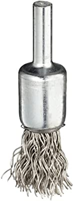 """Weiler Wire End Brush, Solid End, Round Shank, Stainless Steel 302, Crimped Wire, 1/2"""" Diameter, 0.02"""" Wire Diameter, 1/4"""" Shank, 25000 rpm (Pack of 1)"""
