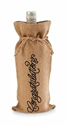 Mud Pie Congrats Burlap Wine Bag