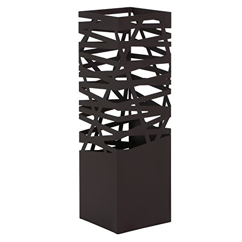 Songmics Modern Umbrella Stand Rack Free Standing for Canes/Walking Sticks, Square with 2 Hooks, Metal Brown ULUC47Z