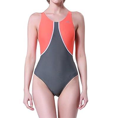 LAPAYA Women's One Piece Swimwear Racerback Splice Backless Sport Racing Swimsuit