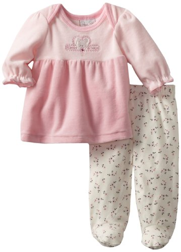 RENE ROFE Baby-girls Newborn Kisses and Hugs Velour Dress and Footed Legging Set, Pink/Floral, 3-6 Months