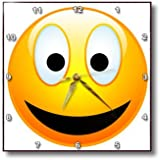 3dRose dpp_19404_3 Smiley Face 2 a Yellow and Black Happy Face with a Big Smile and Glowing Nose Wall Clock, 15 by 15-Inch