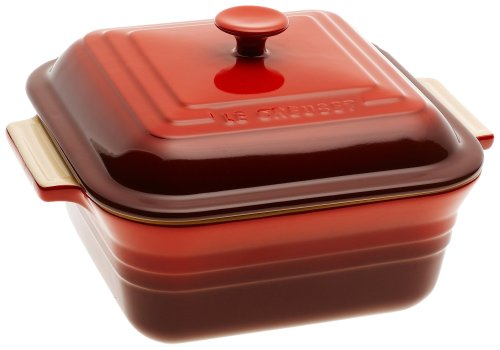 Le Creuset Stoneware 3-Quart Square Casserole with Lid, Cherry