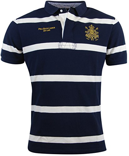 Polo Ralph Lauren Mens Custom Fit Crest Logo Polo Shirt - Xxl - Navy/White