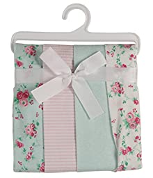 Laura Ashley 4 Piece Ladder Receiving Blanket, Mint Floral Print