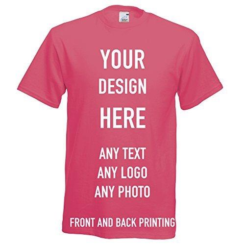 Custom Printed T-shirt, Personalizzato Magliette, Davanti E Dietro Stampato, Ottimi per Regali, Abbigliamento da lavoro, Uniforme & Eventi 12 Colori - Fucsia, XL