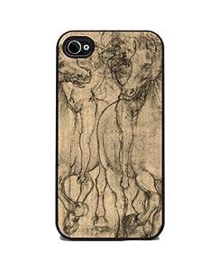 Leonardo DaVinci's Horses - iPhone 4 or 4s Cover, Cell Phone Case - Black