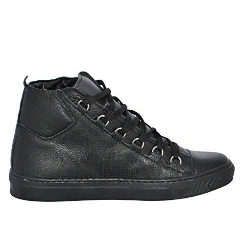 Sneakers Uomo Alta Stringata Nera Pelle Made in Italy men shoes scarpe (41)