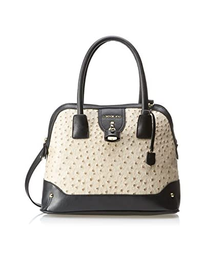 London Fog Women's Lark Dome Satchel, Ecru Ostrich
