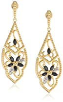 Hot Sale Yellow Gold Plated Sterling Silver Sapphire and Diamond Accent Flower Dangle Earrings