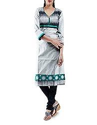 Unnati Silks Women Pracheenkala grey pochampally cotton kurta