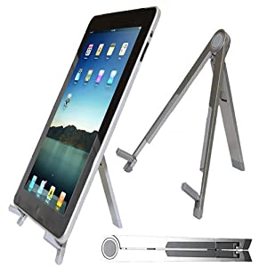 Jazooli Portable Lightweight Universal Foldable Desk Stand For iPad, iPad 2, iPad 3 Notebook's, Laptop's, Netbook's & Tablet PC's - Silver