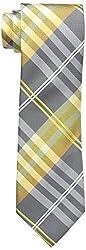 Geoffrey Beene Men's Petros Plaid II Tie, Yellow, One Size