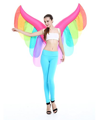 Halloween Novelty Adult Fancy Inflatable Angel Wings Colorful Costume Party Suit (Dark Angel Halloween Costume For Kids)