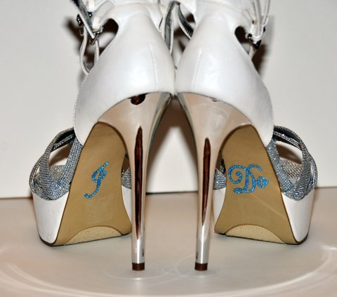 Wedding Rhinestone I Do Shoe Applique Stickers - Baby Blue UO0054